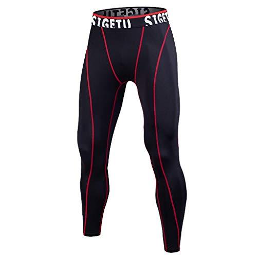 SANFASHION Herren Fitness Hose Cool Tights Funktionswäsche Pants Training Bodybuilding Workout Fitness Long Pants Tight Drying Sports Pants