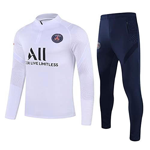 WZH-ZQQY Traje De Entrenamiento De Fútbol De Club De Campeonato Europeo Traje De Deporte Transpirable para Hombre (Chaqueta + Pantalones) -kpl-c1495(Size:L,Color:Blanco)