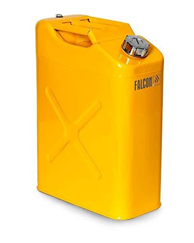 FALCON Sicherheitskanister aus Stahl, lackiert, 20 Liter, gelb, für entzündbare und aggressive Stoffe, mit Schraubverschluss und Belüftungsventil, Transportzulassung