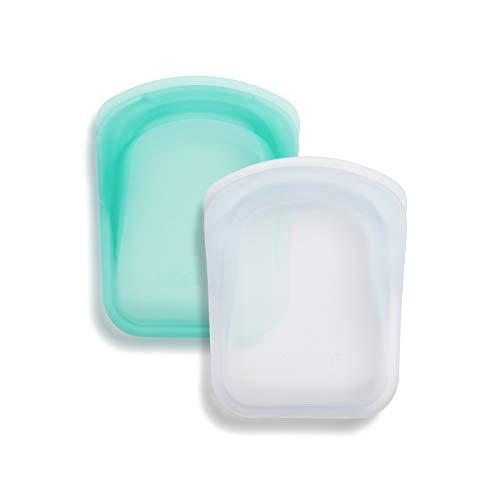 Stasher Platinum Silicone Food Grade Reusable Storage Bag, Clear + Aqua (Pocket Size, 2 Set) | Reduce Single-Use Plastic | Cook, Store, or Freeze | Leakproof, Dishwasher-Safe, Eco-friendly | 4 Oz