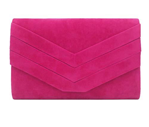 Alifyt Elegante bolso de mano de ante sintético estilo de envoltura nupcial boda noche embrague partido, rosa fucsia, Small