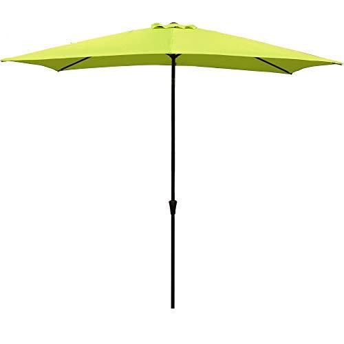 COBANA Rectangular Patio Umbrella, Outdoor Table Market Umbrella with Push Button Tilt/Crank, 6.6' by9.8', Lime Green