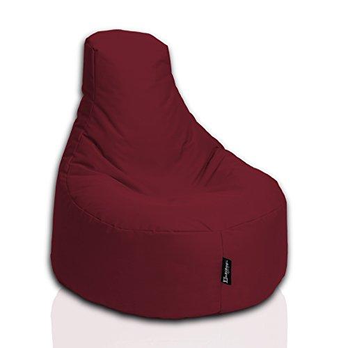 BuBiBag Sitzsack Gamer Junior Sessel Sofa Sitzkissen Sitzmöbel Beanbag Sitz-Kissen für Kinder (55 cm Durchmesser,Weinrot)