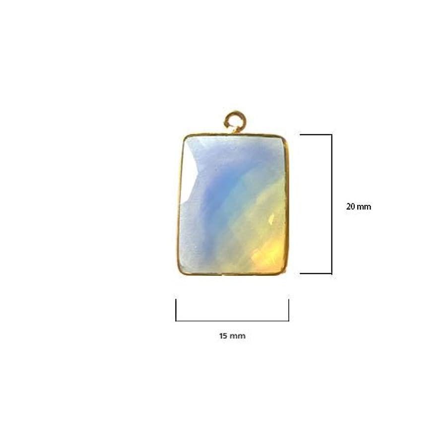2 Pcs Opalite Rectangle Beads 15X20mm 24K Gold Vermeil by BESTINBEADS, Opalite Hydro Quartz Rectangle Pendant Bezel Gemstone Connectors Over 925 Sterling Silver Bezel Jewelry Making Supplies