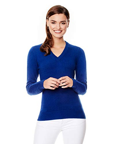 Vincenzo Boretti Damen Pullover V-Ausschnitt V-Neck modern elegant Chick edel weich Strick-Pullover blau S