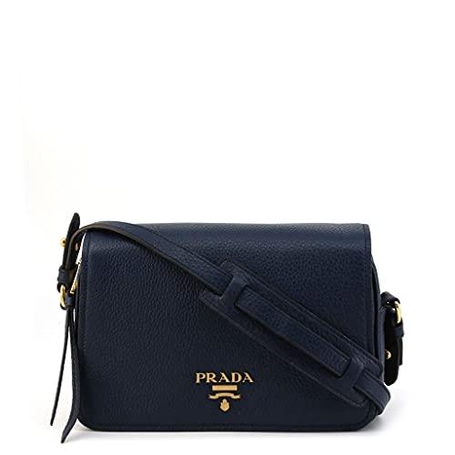 Prada 1BD163 - Borsa a tracolla in pelle Vitello Phenix, colore: Blu navy