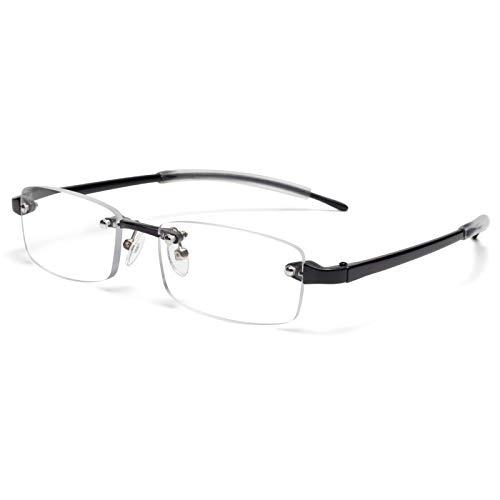 JIMMY ORANGE 老眼鏡 縁なし リムフレ 超弾力性 TR素材 ブルーライトカット PCメガネ 軽量 おしゃれ 4色 携帯用 メンズ レディース リーディンググラス ツーポイント(ブラック,+3.0)