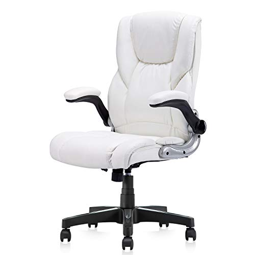 B2C2B High Back Ergonomic Home Office Chair White Leather Computer Executive Desk Chair Modern Racing Chair Adjustable with Flip-up Arms Lumbar Support 280lbs
