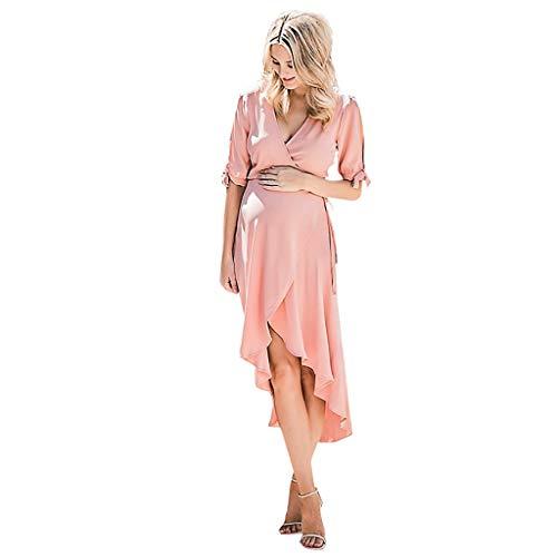 RISTHY Vestido de Gasa Mujer Maternidad Premamá Verano Vestidos de Fiesta Vestidos Largos de Playa Irregular Casual Primavera Vestidos Cuello V 2019 Elegantes