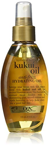 OGX Anti-frizz Hydrating Kukui Oil, Hydrate Plus Defrizz, 4 Ounce (Pack 2)
