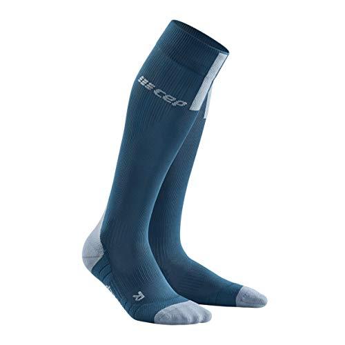 CEP – Run Socks 3.0 für Herren | Kompressionsstrumpf mit präzisem Druckverlauf in blau/grau | Größe IV