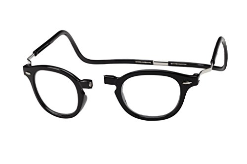 Clic Magnetic XXL Vintage Oval Reading Glasses in Black ; +2.50