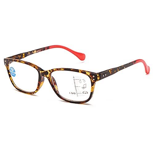 HAOXUAN Gafas de Lectura Multifocales Progresivas, Gafas de Ordenador Anti-Azules, Gafas de Lectura para Hombres Y Mujeres, Gafas CláSicas para Ancianos con Montura De PC,Rojo,+1.50