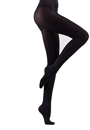 Iseaa ondoorzichtige elastische panty scheurvaste microvezel kous panty zwart maat S-XL