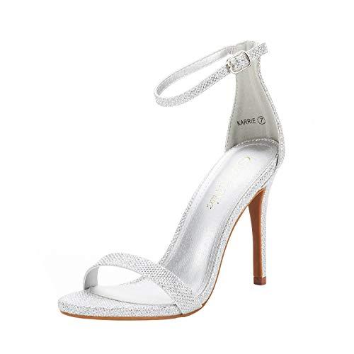 DREAM PAIRS Women's Karrie Silver Glitter High Stiletto Pump Heeled Sandals Size 8.5 B(M) US