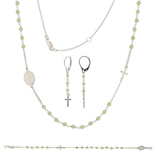 Gioiello Italiano - Rozenkransset, licht, van witgoud en groene steen, halsketting, armband, oorbellen, voor dames