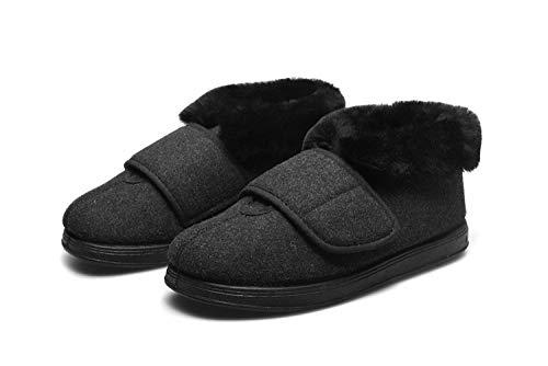 Zapatillas diabéticas de espuma viscoelástica,Zapatos de ajuste de ensanchamiento de cuello de piel caliente,zapatos de algodón para pie diabético-negro_41,Zapato ajustable y cómodo para la diabetes