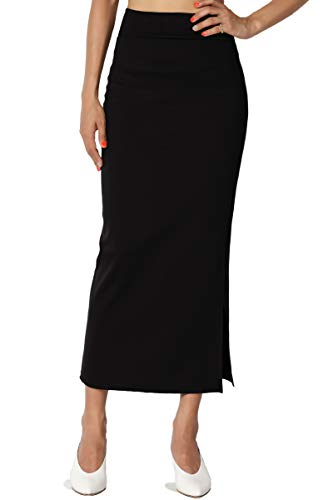TheMogan Women's Side Slit Ponte Knit High Waist Mid-Calf Pencil Skirt Black M