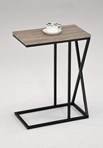 Reclaimed Wood Look Finish Snack Side End Table with X Design by RAAMZO