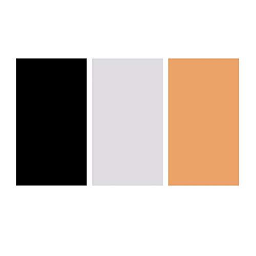 Solustre - Fondo plegable de PVC, impermeable, antiarrugas, fotos de colores sólidos, fondo de color, placas para estudio fotográfico (negro + blanco + amarillo)