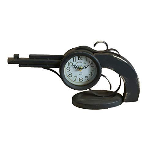 Hancoc Creativo Vintage Hierro Forjado Escopeta Escritorio Reloj Oficina Escritorio Reloj Decorativo Asiento Reloj Decoración del Hogar