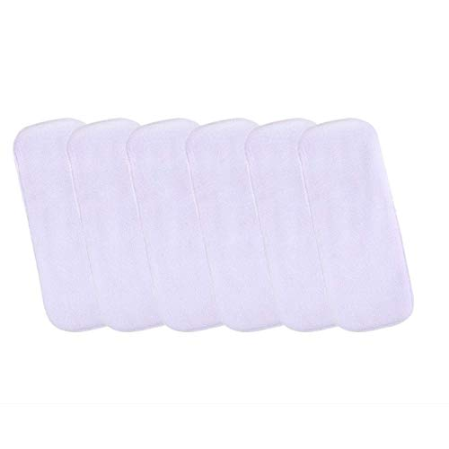 Baby Tickle BT101 Reusable Washable Cotton Diaper Nappy Inserts Pad Wetfree 5 Layers Bamboo Charcoal Diaper Inserts Liners for Baby Boy, Baby Girl, Babies, Infants, Toddlers (Pack of 6, White)
