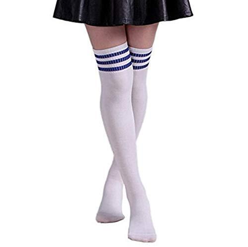 Butterme Frau Mädchen Über den Knie Extra Lang Fußball Rugby Socks Strümpfe Sport Tights mit Klassik Dreibettzimmer Stripes Cosplay Socken (Weiß+Blau)