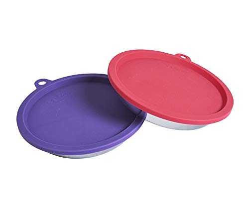 Messy Cats 4pc Set with Two Stainless Saucer Shaped Bowls and Two Silicone Lids, 1.75 Cups Per Bowl, Watermelon and Purple Lids