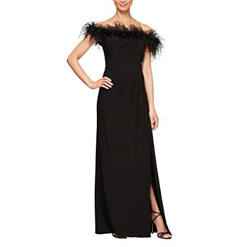 Alex Evenings Women's Size Long Off The Shoulder Dress, Black Maribou Plus, 24W