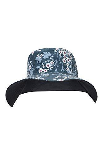 Mountain Warehouse Womens réversible imprimé Bonnet - Casquette en été 100% Coton, léger, Respirant Sun Hat, Entretien Facile Vacances Hat - pour Le Printemps randonné Bleu Marine Taille Unique