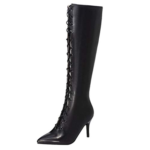 High Heels Stiefel Damen Stiefeletten SchnüRstiefel Stiletto Absatz Sexy Bench Boots Winter Warm Hoch Stiefel Zipper Overknee Stiefel