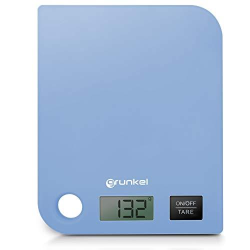 Grunkel - BCR-G01 - Báscula de cocina digital con precisión de 1g. Indicador de sobrecarga y función tara - Peso máximo 8 kg - Azul, Vidrio