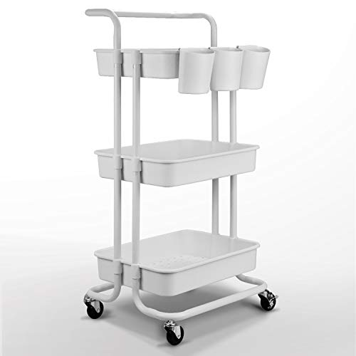 Asoopher 3-Tier Rolling Utility Cart, Storage Shelves Organizer, Coffee Bar with Lockable Wheels, Handle, 3 Hanging Baskets, Easy Assembly, for Bathroom, Kitchen, Office, Workshop, White