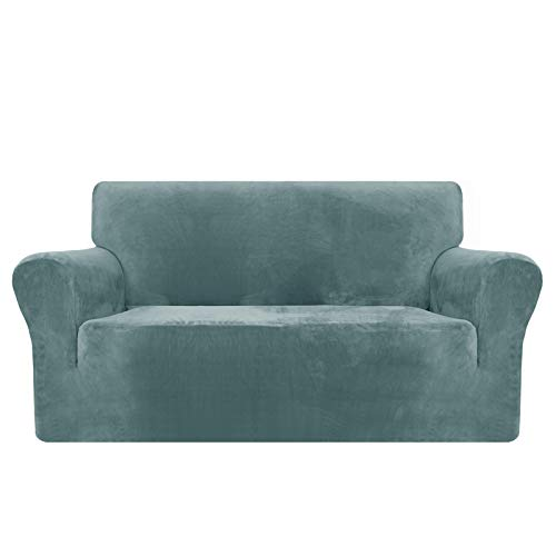 MAXIJIN Copridivano in velluto spesso Copridivano per divano a 2 posti Super elasticizzato per soggiorno Cani Gatto Pet Peluche Coprisedile Divano Coprivaso (2 posto, Blu Polvere)