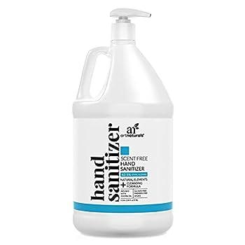Artnaturals Scent Free Hand Sanitizer Gel Alcohol Based  1 Gallon x 128 Fl Oz / 3785ml  Infused with Jojoba Oil Aloe Vera Gel & Vitamin E