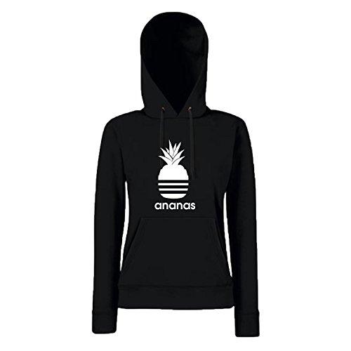 Shirt-Panda Damen Mädchen Hoodie Ananas Motiv Spruch Fun Cool Ladyfit Schwarz S