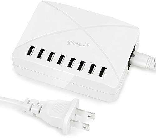 Allucker USB 充電器 コンセント 電源タップ 急速充電器 智能入力 8ポートUSBコンセント 8A 5V 全機種対応 iPhone スマホ タブレット 急速充電 海外対応 (ホワイト)