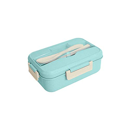 Kadeau Eco Friendly Lunch Box, Fruit Box, Bento Box Microwave Safe, for Kids and Adults with 3 Compartment, Wheat Fiber Lunch Box Leak Proof Lunch Container with Cutlery (Green)