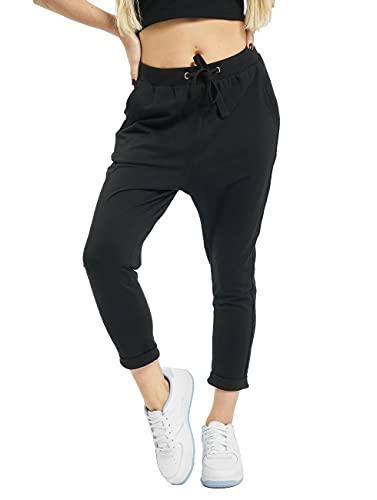 Urban Classics Damskie damskie damskie spodnie z odkrytymi brzegami Terry Turn Up Sport, Czarny (czarny 0007), XXL