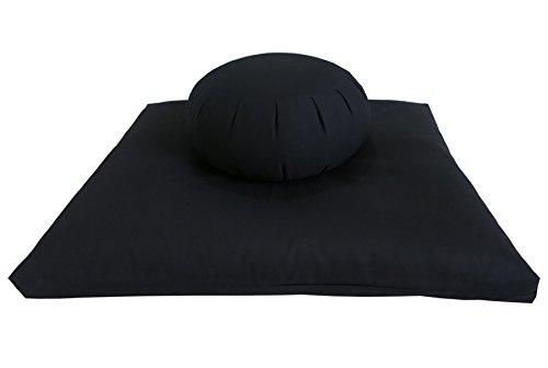 Buckwheat Zafu and Zabuton Meditation Cushion Set (2pc), Black