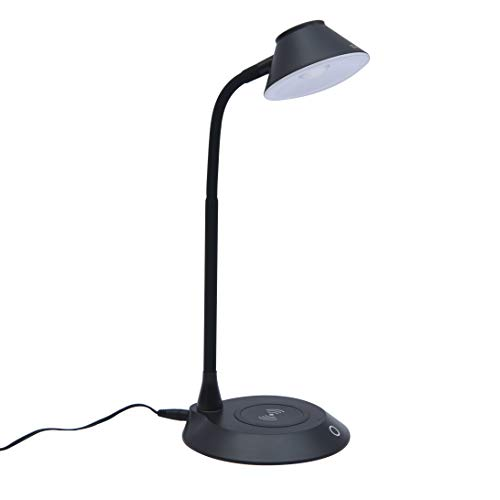 DAC Desk Lamp Wireless Charger – for iPhone 11, X, 8, Galaxy S20, S10, S9, S8, S7 and All Qi-Enabled Devices - 3 Brightness Levels - Flexible Gooseneck LED Lamp - Desk Light for Office – Black