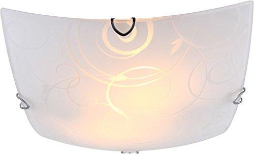 Deckenlampe 2 flammig Deckenleuchte Schlafzimmer Lampe Glas satiniert Dekor (Deckenlicht, Deckenstrahler, Wohnzimmer Leuchte, Flur, eckig, 30 cm x Höhe 9 cm, Fassung 2 x E27)