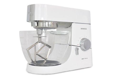 Kenwood KMC 015 Chef Titanium Küchenmaschine, Glas-Rührschüssel 1400 Watt, brillantweiß