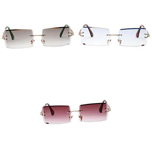kowaku Gafas de Sol Sin Montura Vintage de 3 Piezas Gafas de Sol Clásicas con Lentes Tintadas