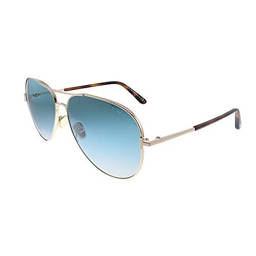 Tom Ford Clark TF 823 28P Rose Gold Metal Aviator Sunglasses Blue Gradient Lens