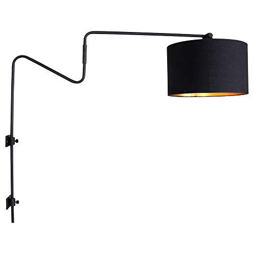 Wand Leuchte verstellbar schwarz Strahler Lampe gold Wohn Zimmer Beleuchtung Textil Steinhauer 2131ZW