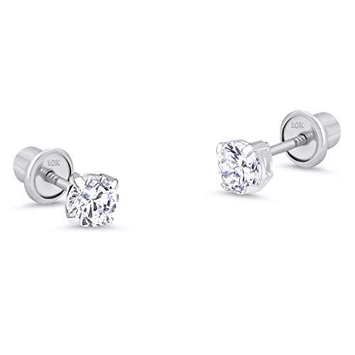 10k White Gold 2mm Basket Round CZ Cubic Zirconia Solitaire Children Screw Back Baby Girls Earrings