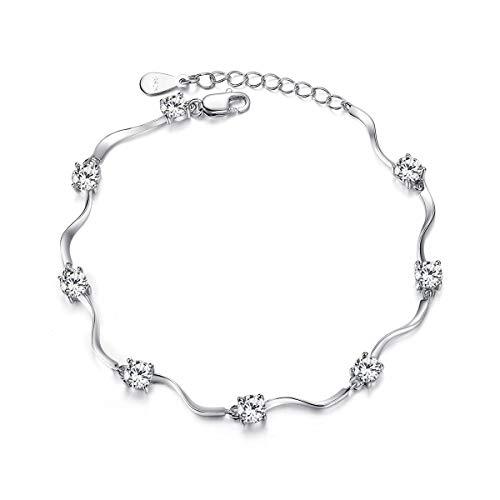 Merdia - Meraviglioso braccialetto da donna in argento Sterling S925con zirconi brillanti, 20 cm