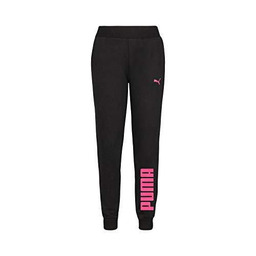 PUMA Mädchen Fleece Jogger Pant Trainingshose, Black/Pink, 38