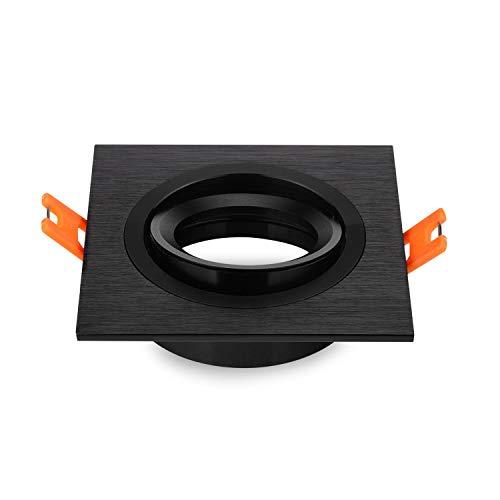 Pack de 2 empotrar Downlight Focos marco metálico cuadrado ligero Square Fixture titulares ajustable de 70 mm del recorte para el LED GU10 halógena, 230V, 12V MR16